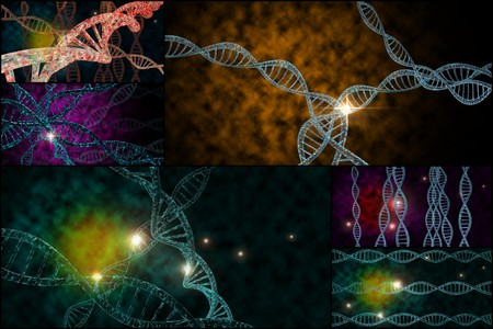 dna double helix: 3D DNA strand collage with vibrant colors for genetics background