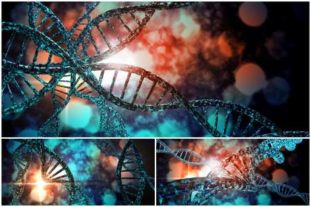 3D-DNA-Strang-Collage mit lebendigen Farben für Genetik Hintergrund Standard-Bild - 45464569