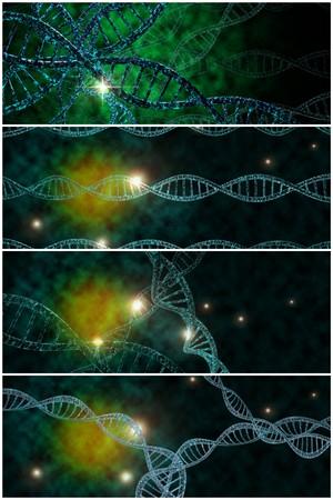 3D-DNA-Strang-Collage mit lebendigen Farben für Genetik Hintergrund Standard-Bild - 45464576