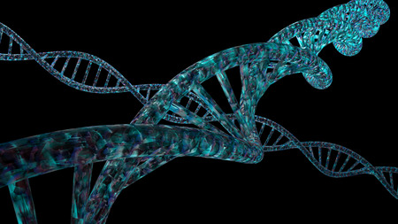 vibrant colors: 3D DNA strand with vibrant colors for genetics background Stock Photo