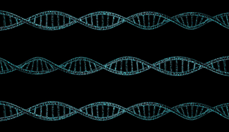 deoxyribonucleic acid: 3D DNA strand with vibrant colors for genetics background Stock Photo
