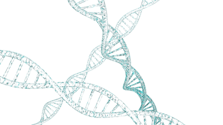 遺伝学の背景に鮮やかな色の 3 D の DNA 鎖