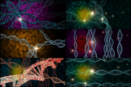 genomes: 3D DNA strand collage with vibrant colors for genetics background