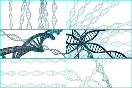 3D-DNA-Strang-Collage mit lebendigen Farben für Genetik Hintergrund Standard-Bild - 45464558