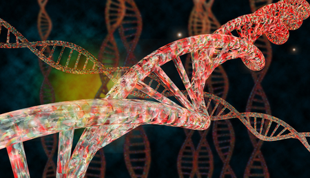 nucleic acid: 3D DNA strand with vibrant colors for genetics background Stock Photo