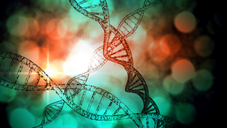 coiled: 3D DNA strand with vibrant colors for genetics background Stock Photo