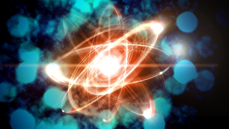 atomic: Close up illustration of atomic particle for nuclear energy imagery Stock Photo