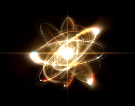 Close up illustration of atomic particle for nuclear energy imagery Banque d'images