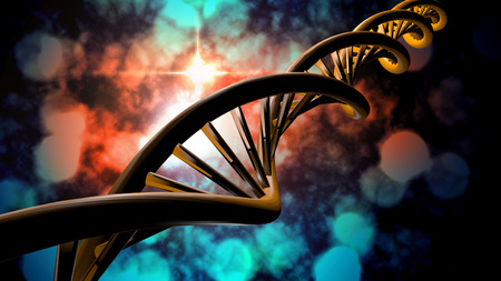 dna double helix: 3D DNA strand with vibrant colors for genetics background Stock Photo