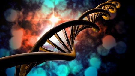 3D DNA strand with vibrant colors for genetics background Standard-Bild