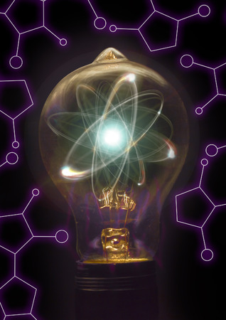 nucular: Atomic particle as lightbulb filament for nuclear energy imagery Stock Photo