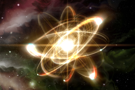 nucular: Close up illustration of atomic particle for nuclear energy imagery Stock Photo