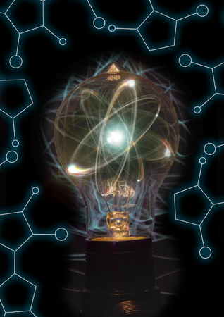 quarks: Atomic particle as lightbulb filament for nuclear energy imagery Stock Photo