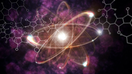splitting: Close up illustration of atomic particle for nuclear energy imagery Stock Photo