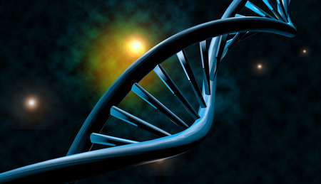 dna strand: 3D DNA strand with vibrant colors for genetics background Stock Photo