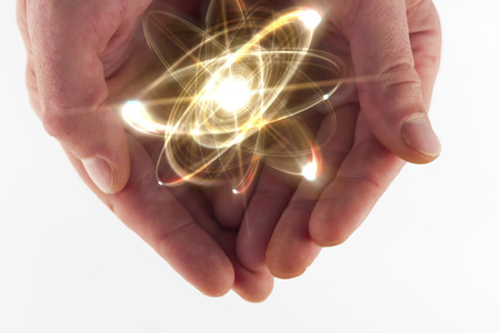 Atomic orbitting particle being held in cupped hands