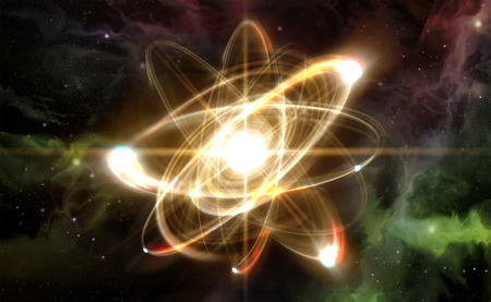 nuclear bomb: Close up illustration of atomic particle for nuclear energy imagery Stock Photo