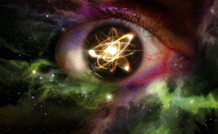 Atomic particle reflection in the pupil of an eye for physics background Stock Photo - 45464285