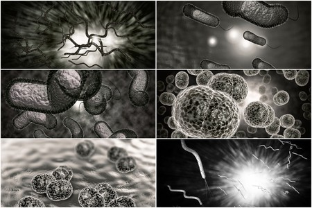 3D microscope close up of various bacteria in collage imagery