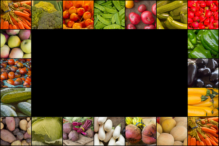 collage: Variety of popular farmers market fruits and vegetables in produce collage imagery