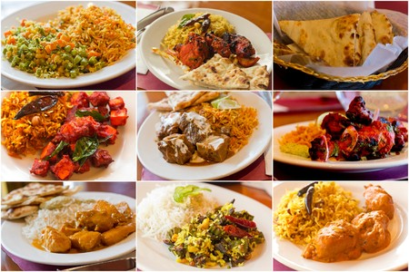Variety of popular Indian food dishes in collage imagery