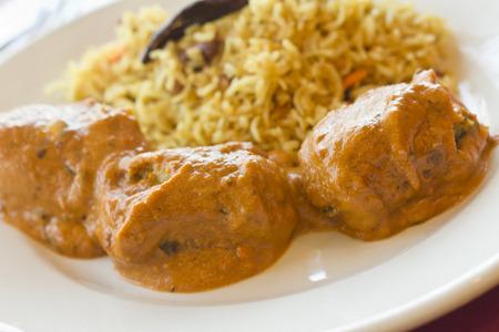 malai: Vegetarian Malai Kofta balls in gravy sauce with tamarind basmati