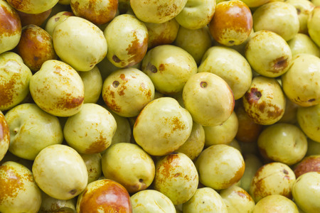 jujube fruits: Pile of fresh Jujube fruits at local farmers market Stock Photo