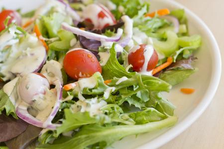 ensalada tomate: Ensalada org�nica fresca con aderezo ranch cremosa Foto de archivo