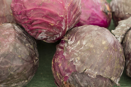 red cabbage: Close up of organic red cabbage at local farmers market Stock Photo
