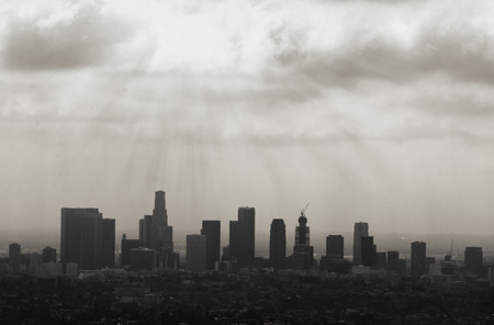 Beautiful Los Angeles skyline silhouette against sunset Stock Photo