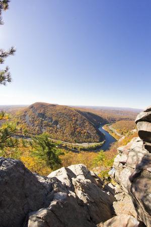 the east coast: Beautiful autumn mountain range on east coast near delaware water gap