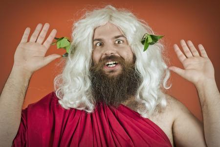 God zeus or jupiter with hands up against orange background