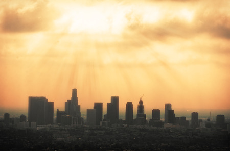 sky scrapers: Beautiful Los Angeles skyline silhouette against sunset Stock Photo