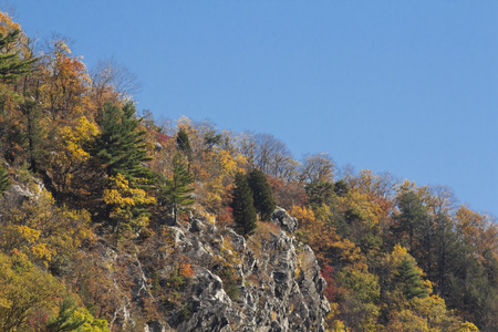 Beautiful autumn mountain range on east coast near delaware water gap