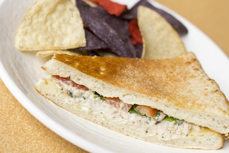 tuna salad: Triangle sliced tuna salad panini with colorful tortilla chips