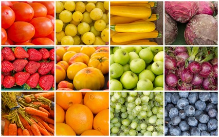 green and purple: Produce collage of popular fruits and vegetables in the pattern of a rainbow Stock Photo