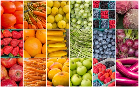 collage: Produce collage of popular fruits and vegetables in the pattern of a rainbow Stock Photo