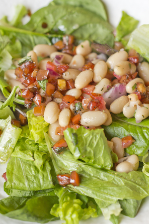 Cannellini bean salad on bed of romaine lettuce with diced sauteed tomato Imagens