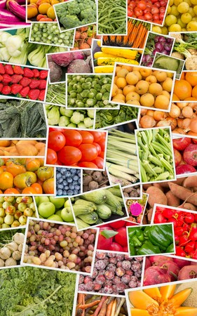 tomate: Variety of popular farmers market fruits and vegetables in produce collage imagery