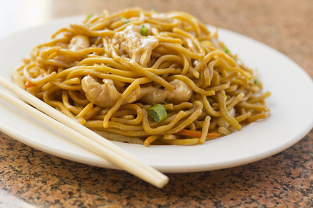 lo mein: Delicious chinese food, chicken Lo Mein stir fry