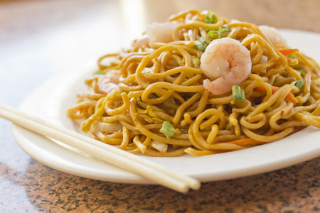 yi mein: Delicious chinese food, shrimp Lo Mein stir fry
