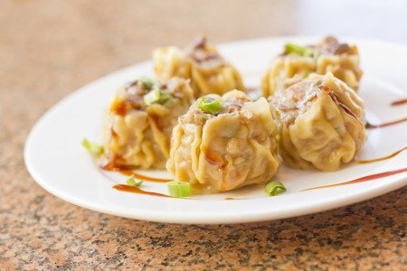 Delicious Chinese Dim Sum dumplings topped with scallions and sweet sauce