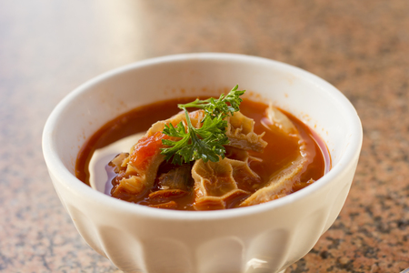 trippa: Trippa Alla Roma Tripe soup with red tomato sauce and parsley