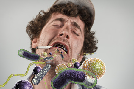 man smoking: Bacteria virus sickness pouring out sick rednecks open mouth Stock Photo