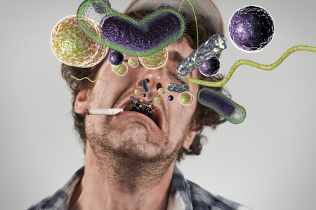 redneck: Bacteria virus sickness pouring out sick rednecks open mouth Stock Photo
