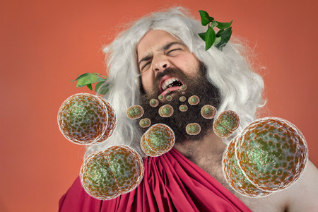 Bacteria virus sickness pouring out sick god zeus jupiters open mouth Stock Photo