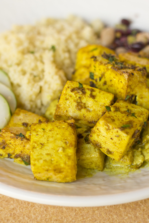 paneer: Paneer curry tofu with herbed quinoa and bean salad