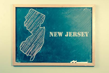 new jersey: Outlined New Jersey US state on grade school chalkboard