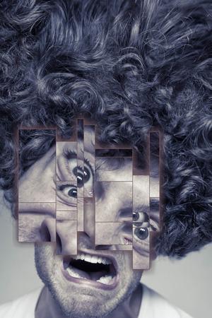 contempt: Desaliñado hombre de rostro con el pelo rizado desordenado afro, abstracta