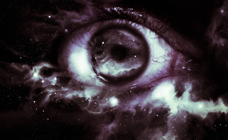 prophecy: Giant eyeball starscape backdrop with colorful space clouds Stock Photo